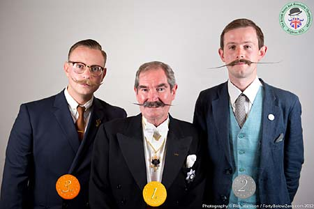English Moustache Winners - 3 Ben Wykes - 2 Robbie Humphries - 1 Jonathan Van Halbert - Photo Rick Harrison. Click to enlarge and for carousel