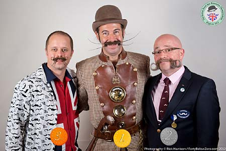 Freestyle Moustache Winners - 3 Stephen Parsons - 2 Dan Sederowsky - 1 Jake Craig - Photo Rick Harrison. Click to enlarge and for carousel