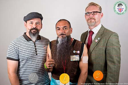 Natural Goatee Winners - 3 Andy Casson - 2 Joe Elgie - 1 Farhan Rasheed - Photo Rick Harrison. Click to enlarge and for carousel