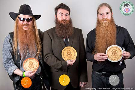 Natural Full Beard Winners - 3 Colin Poetz - 2 Anthony Ibbitson - 1 Andrew Balls - Photo Rick Harrison. Click to enlarge and for carousel